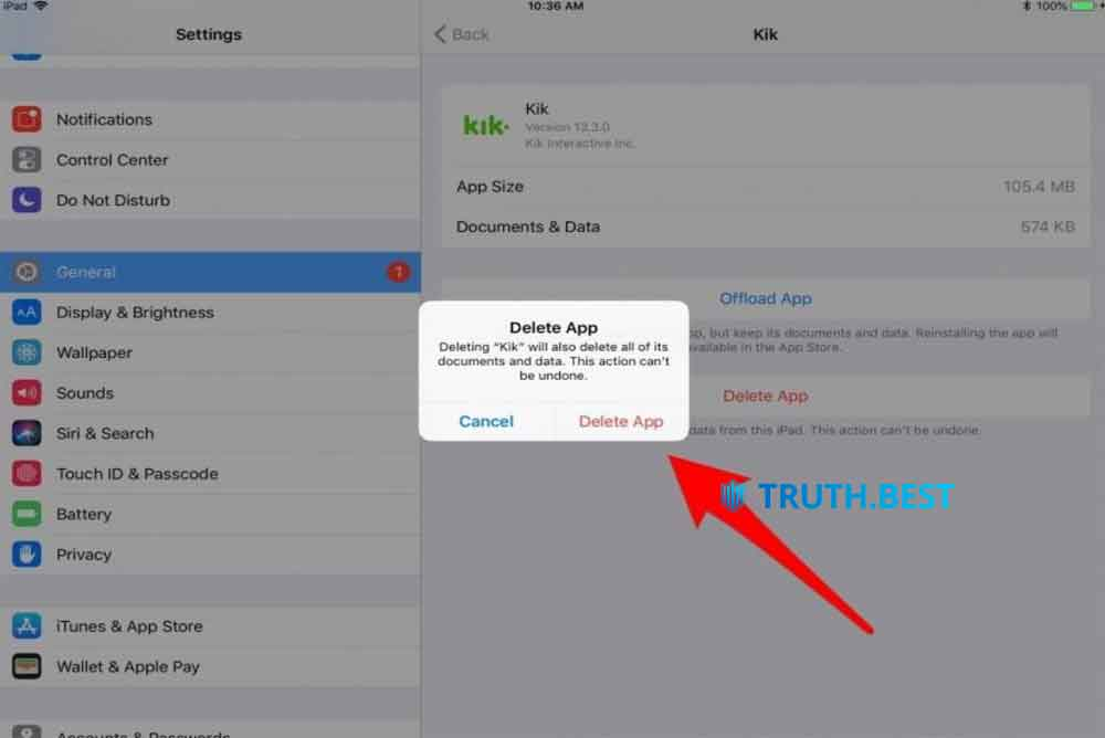 Solution #2: Delete apps on your iPad from Settings Truth.Best