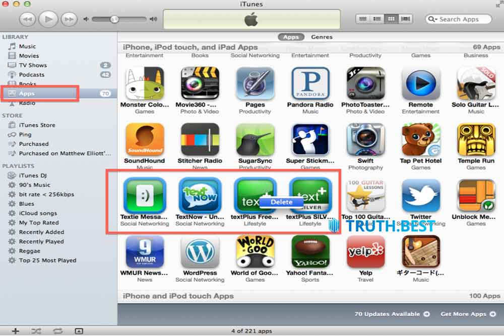 Solution # 3: Delete your unwanted iPad apps from iTunes Library