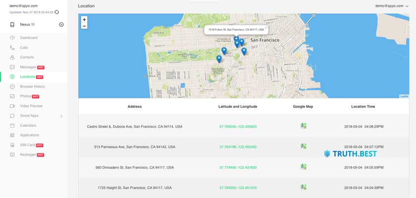 Spyic GPS location tracking