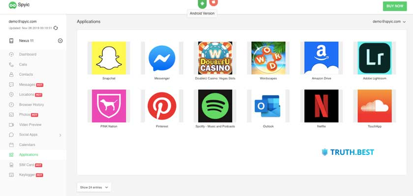 Spyic List of installed apps