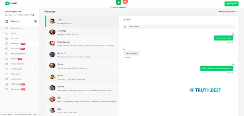 spyic Text message monitoring
